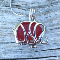 Sea Glass In Red Elephant Locket Necklace Ruby by Wave of Life™
