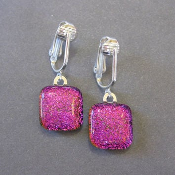 Pink Clip On Earrings, Dangle Clip On Earrings, Pink Ear Clips, Clip Earring Jewelry - Hot Hot Pink - 1574 -2