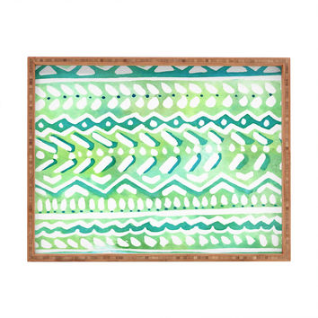 CayenaBlanca Green Tribal Rectangular Tray