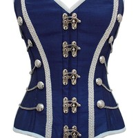 Blue Military Inspired Steel Boned Corset