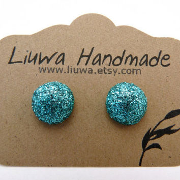 Turquoise Glitter Dot Post Earrings, Polymer Clay Studs, Stainless Surgical Steel Posts