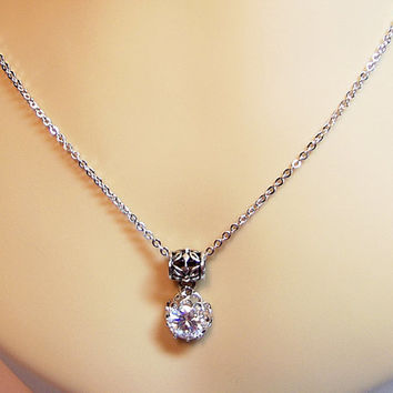 Cubic Zirconia Lace Filigree Long Pendant Necklace, Mom Sister Grandmother Bridesmaid Wedding Jewelry Gift, Christmas Gift, Aunt