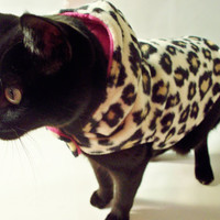 FREE SHIPPING CoolCats Leopard and Hot Pink Fleece Hooded Coat for Cats