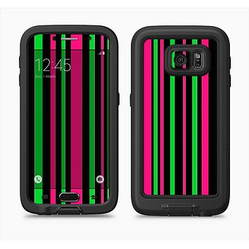 The Pink & Green Striped Full Body Samsung Galaxy S6 LifeProof Fre Case Skin Kit