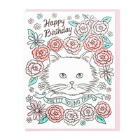 Happy Birthday PYT Cat Greeting Card