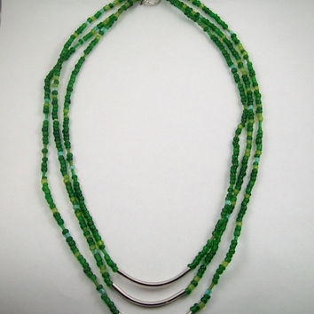 Green Delica Bead and Silver Tube Slide Necklace
