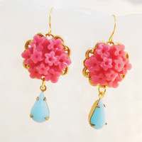 Pink and Turquoise Floral Earrings with Vintage Jewels