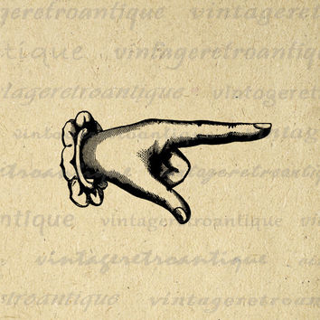 Digital Printable Finger Pointing Graphic Classic Pointing Hand Image Artwork Download Vintage Clip Art HQ 300dpi No.389