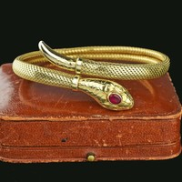 Antique Art Deco Ruby Paste Rolled Gold Snake Bracelet