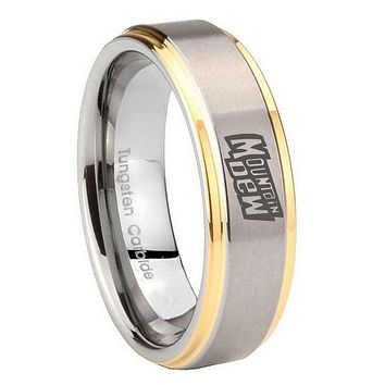 8mm Mountain Dew Step Edges Gold 2 Tone Tungsten Carbide Wedding Band Ring