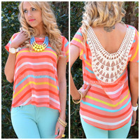 Moonbeam Coral Striped Crochet Back Top