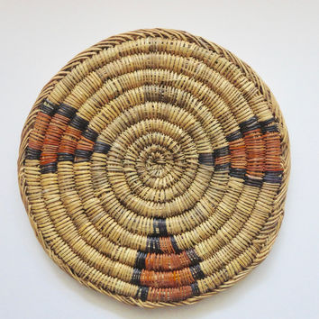 Moroccan Round Flat Raffia Trivet with Orange & Blue accents