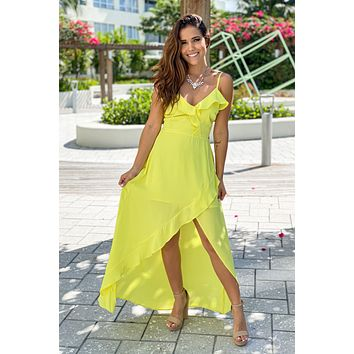 Yellow Maxi Dress with Ruffle Details
