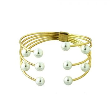 Stacked Pearl Cuff Bracelet