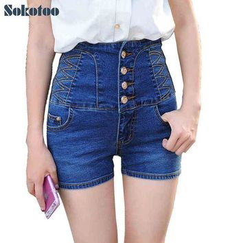 DKLW8 Sokotoo Women's summer casual high waist buttons stretch denim shorts Lady's plus large size slim skinny jeans