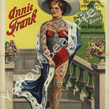 """Vintage Annie Frank """"Living Picture Gallery"""" Poster Print"""