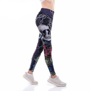Chain Skull Rose Print YoGa Pants with Flowers Women Plus Size Pants
