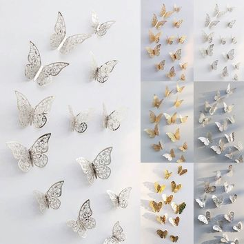 3D Hollow Butterfly Art Wall Stickers Decal Bedroom Living Room Mural Home Decor
