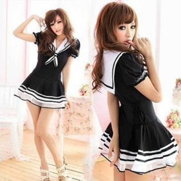 Kawaii School Uniform Black Seifuku Dress Free Ship SP141252 from SpreePicky