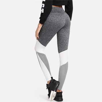 Color Block Wide Waistband Cut and Sew Leggings