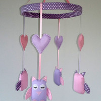 Owl crib, cot mobile, baby girl nursery, Pink and lilac nursery,  Owl Woodland theme,  Baby girl shower gift, christening gift
