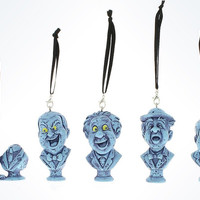 Disney Parks The Haunted Mansion Busts Ornament Set New With Box