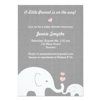 Little Peanut Baby Shower Invitation-Pink Hearts 5x7 Paper Invitation Card