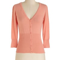 ModCloth Short Length Long Sleeve Ice Cream Sociable Cardigan in Peach