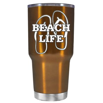 The Beach Life Sandals on Copper 30 oz Tumbler Cup