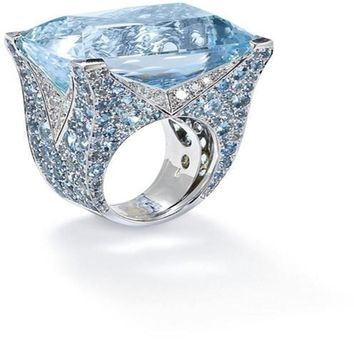 ZHIXUN Large Blue Stone Princess Cut Silver Crystal Rings Bague for Women Girl Engagement Birthday Gift Jewelry Luxury Anillos