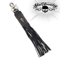 "13"" Leather Whip Keychain w/Studs & Skull (kc009)"