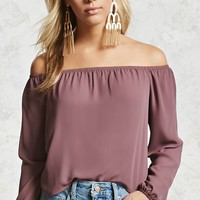 Off-the-Shoulder Curved Hem Top