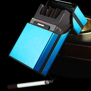 New Blue Aluminum Metal Tobacco Cigarette Pocket Storage Cigar Case Pocket Box Holder Storage XN187