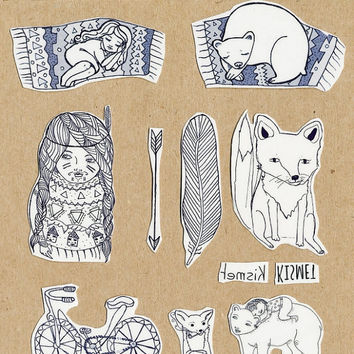 13 tattoos, Bear ,Temporary tattoo, multi pack of   illustrated tattoo, with liquidskin tattoo shine off,