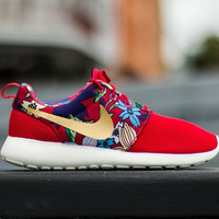 Nike Roshe Run One Red with Floral Print and Custom Gold Swoosh. Ready to ship in 3-5 business days.