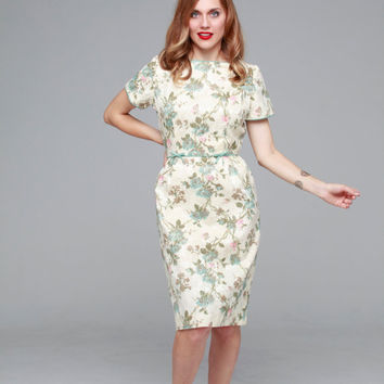 High Tea dress  | vintage 1950s dress • cream floral brocade 50s dress