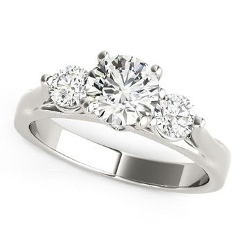 14K White Gold 3 Stone Prong Setting Round Diamond Engagement Ring (1 3/8 ct. tw.)
