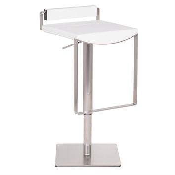 Bristol Hydraulic Bar Stool, White Leather