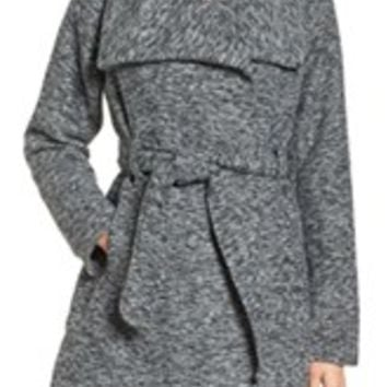 Steve Madden Asymmetrical Hooded Coat with Faux Fur Trim | Nordstrom