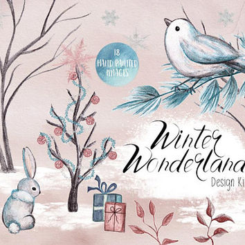 Winter Wonderland | watercolor holiday clipart, watercolor elements, christmas clipart, cute animal, forest, xmas, greetings, holiday