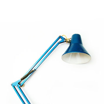 Vintage Swing Arm Architects Lamp Blue , Blue Table Lamp