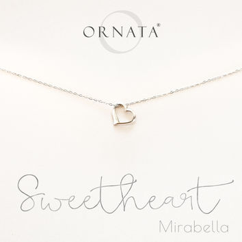 """Sweetheart"" Personalized Sterling Silver Heart Necklace"