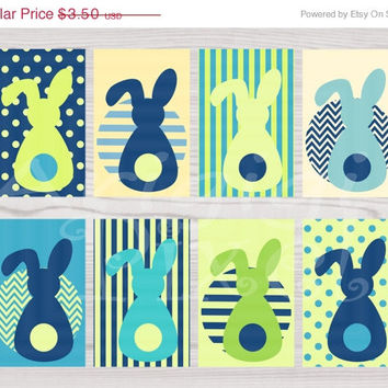 WEEKEND SALE 50% OFF Blue Green Printable Gift Tag Easter Bunny in Spring Colors Instant Download Png file Pdf file