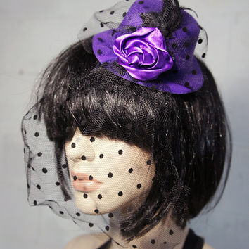 Purple Mini Top Hat w/ Feathers, Purple Blooming Flower and Polka Dot Mesh Veil/ Bird Cage Accents, Floral Hair Clip