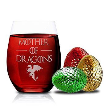 Mother of Dragons  Drinking Glasses Games  Gifts for Her Girlfriend Mom Sister  Novelty Wine Glasses  Stemless Wine Glass 15 oz by FOLE INC