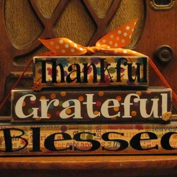 Fall and Thanksgiving Decor Sign - Thankful, Grateful, Blessed