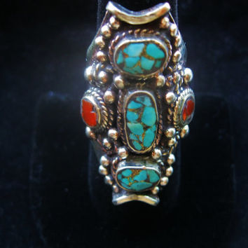 Tibetan Silver Ring, Turquoise and Coral Jewelry, Antique Tribal Inlaid Gemstone, Bohemien, Gypsy, Large Chunky Stone Nepali Ring