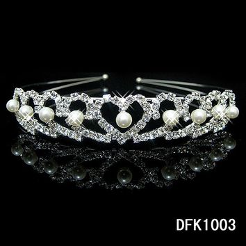 1Pcs Shiny Crystal Rhinestone Pearl Headband Wedding Bridal Silver Hairwear Party Girls Tiara Flower Hair bands Hair Accessories