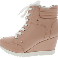 ADRIANA11 LIGHT CORAL SNEAKER WEDGE BOOT
