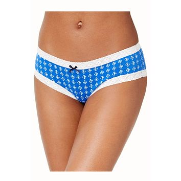 Tommy Hilfiger Blue Zig-Zag/Dots Cotton/Lace Cheeky Brief
